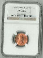 1970 S LINCOLN CENT SMALL DATE NGC: MS65 RD GEM      LOW BUY IT NOW