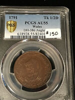 1791 DH 386 ANGLESEY WALES 1/2 PENNY CONDOR TOKEN PCGS AU55
