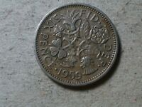 GREAT BRITAIN SIXPENCE 1959 6 PENCE   WEDDING COIN GIFT . YOUNG QUEEN. TARNISHED