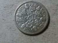 GREAT BRITAIN 6 PENCE SIXPENCE  1936  KGV WEDDING COIN GIFT  SILVER