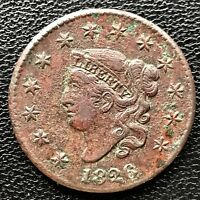 1826 LARGE CENT CORONET HEAD ONE CENT 1C BETTER GRADE XF DETAILS  6602