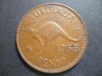 AUSTRALIA ONE PENNY COIN 1955 IN GOOD USED CONDITION BRONZE FEATURES KANGAROO