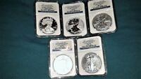 2011 AMERICAN SILVER EAGLE 25TH ANNIVERSARY 5 COIN SET   EARLY RELEASE   MS/PF 7