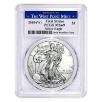 2018  W  1 OZ SILVER AMERICAN EAGLE $1 COIN PCGS MS 69 FIRST STRIKE  WEST POINT