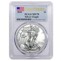 2018 1 OZ SILVER AMERICAN EAGLE $1 COIN PCGS MS 70 FIRST STRIKE  FLAG LABEL