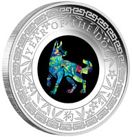 2018 AUSTRALIAN OPAL LUNAR SERIES  YEAR OF THE DOG 1OZ SILVER PROOF COIN