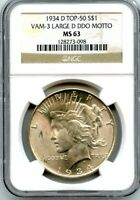 C5710- 1934-D VAM-3 LARGE D DDO MOTTO TOP 50 PEACE DOLLAR NGC MINT STATE 63
