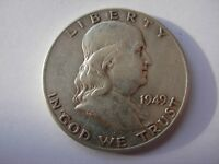 VERY NICE BETTER DATE 1949 FRANKLIN HALF IN VF CONDITION.  2