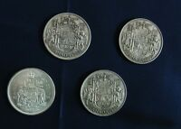 CANADIAN CIRCULATED 1943/50/52/65.50 CENTS  .800 SILVER COINS. QUEEN ELIZABETH.I