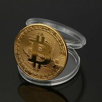 GOLD BITCOIN COMMEMORATIVE ROUND COLLECTORS COIN W/ PROTECTIVE CASE NOVELTY GIFT