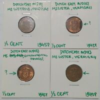 NETHERLANDS EAST INDIES HALF CENT 1945P LOT OF 10 AU TO MS INCL. LOW P VARIANT