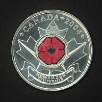 CANADA 2004 POPPY 25 CENTS NICE UNC FROM ROLL   BU CANADIAN QUARTER