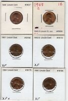 LOT OF 6 LINCOLN WHEAT CENTS, 1945, 1948-S, 1951, 1952-D, 1954, 1955