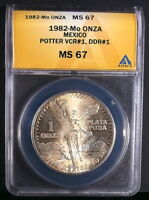 1982 MO MEXICO 1 ONZA SILVER LIBERTAD DOUBLE DIE REVERSE ANACS MS 67 DDR