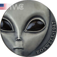 70TH ANNIVERSARY ROSWELL INCIDENT UFO ANT FIN SILVER COIN 30