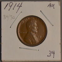 1914-P LINCOLN WHEAT CENT   AU/ ALMOST UNCIRCULATED