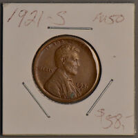 1921-S LINCOLN WHEAT CENT  AU/ ALMOST UNCIRCULATED