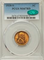 1938-S LINCOLN CENT PCGS MINT STATE 67RD RED CAC