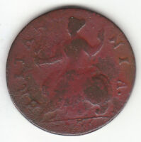 1736 GEORGE II BRITISH US COLONIAL HALFPENNY COPPER COIN.