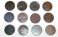 TWELVE 1801 1802 1803 1805 1807 ETC. DRAPED BUST LARGE CENT 1C