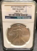 2012 W AMERICAN SILVER EAGLE FIRST RELEASE NGC MS70 999 FINE SILVER ONE TROY OZ