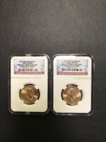 2007 P D JOHN ADAMS PRESIDENTIAL DOLLAR TWO COIN SET NGC BU FIRST DAY OF ISSUE