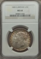 GREAT BRITAIN 1885 HALF CROWN 1/2 CROWN CHOICE UNCIRCULATED NGC MS 64