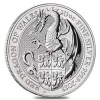 2018 GREAT BRITAIN 10 OZ SILVER QUEEN'S BEASTS  RED DRAGON  COIN BU IN CAP