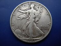 BETTER DATE 1943-D WALKING LIBERTY HALF IN VF CONDITION. 2