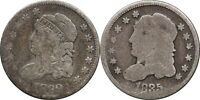 1829 & 1835 CAPPED BUST HALF DIMES, AG, ABOUT GOOD