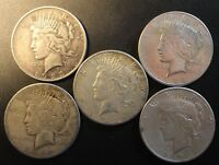 LOT OF 5 MIXED DATE AMERICAN PEACE SILVER DOLLARS $1 .900 FINE 003