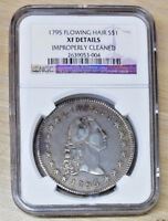 1795 FLOWING HAIR SILVER DOLLAR NGC EXTRA FINE  DETAILS IMPROPERLY CLEANED