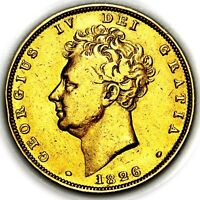 1826 KING GEORGE IV IIII GREAT BRITAIN LONDON GOLD SOVEREIGN