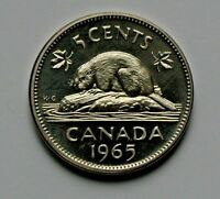 1965 CANADA ELIZABETH II NICKEL COIN   5 CENTS   UNC HEAVY CAMEO  FROM MINT SET