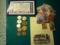 COINS 70 PIECE LOT WITH NINE FOREIGN COINS 59 STAMPS TWO POSTCARDS