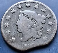 1833 LARGE CENT CORONET HEAD ONE CENT 1C  ERROR CLIPPED PLANCHET  8585