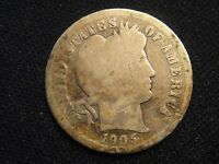 1905 S CIRCULATED BARBER SILVER DIME