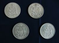 CANADIAN CIRCULATED 1962/63/64/65.50 CENTS  .800 SILVER COINS. QUEEN ELIZABETH.H