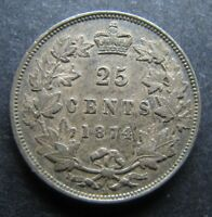 25 CENT 1874H SILVER  A814