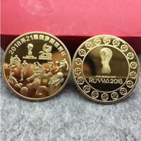 GOLD COMMEMORATIVE ROUND COLLECTORS COIN BIT COIN 2018 WORLD CUP RUSSIA