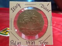 IRAQ 1 DINAR 1981 PALM TREE SADDAM HUSSEIN ERA