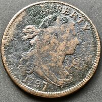 1797 LARGE CENT DRAPED BUST ONE CENT 1C GRIPPED EDGE  6336
