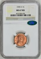 1945-S LINCOLN CENT NGC MINT STATE 67 RD PCGS CAC