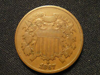 1867 2 BETTER GRADE CLEAR 4 FIGURE DATE 2 CENT PIECE TUFF IN ANY GRADE