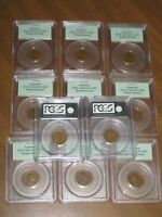 LOT OF 11 1919 LINCOLN WHEAT CENTS PCGS AUTHENTIC OGH SAMPLE SLAB ERROR HOLDERS