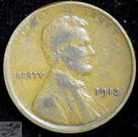 1913 P LINCOLN WHEAT CENT, FINE CONDITION, SHIPS FREE, UNITED STATES, C3791