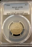 1866 5C RAYS SHIELD NICKEL