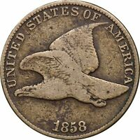 1858 FLYING EAGLE CENT, ENVIRONMENTAL DAMAGE, 1C FINE