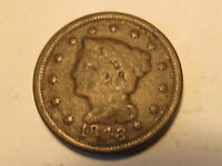 1848 BRAIDED HAIR LARGE CENT PENNY IN VG  GOOD CONDITION