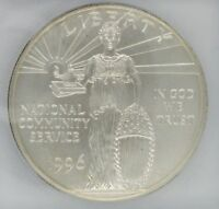 1996-S NATIONAL COMMUNITY SERVICE COMMEMORATIVE SILVER DOLLAR ICG MINT STATE 69